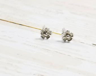 Sterling Silver Petal Flower Stud Earrings- Post Earrings, Floral Earrings