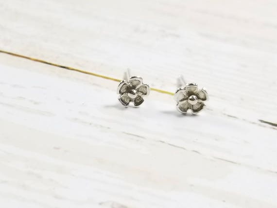 Sterling Silver Petal Flower Stud Earrings- Post Earrings, Floral Earrings