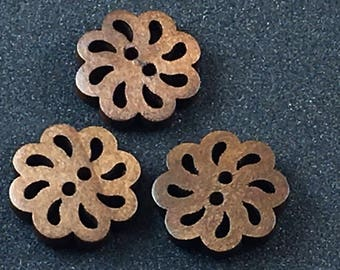 Wood Wooden Lacey Openwork Brown Button Buttons  C28