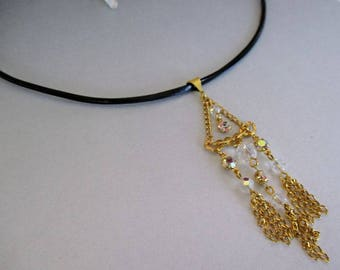 Gold Tassle and Crystal Black Leather Choker Necklace