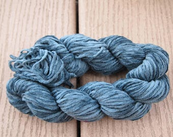 Cotton Chenille Yarn Deep Steel Blue 100 yards Fuzzy worsted knitting weaving