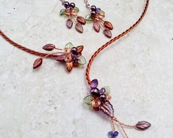 ON SALE Art Nouveau Torc Necklace Earring Set Autumn Cornucopia