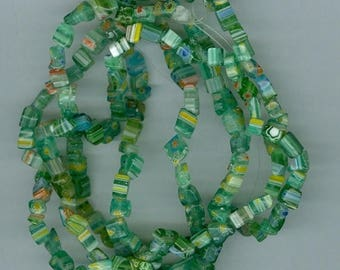 CLEARANCE Bright Green With Blue Yellow Millefiori Flower Chip Beads 32 Inch Strand Bead Chips 504