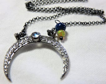 """Oxidized Sterling Silver Diamonds """"Moon"""" with Rainbow Moonstone Pendant, Oxidized Sterling Silver Chain, Natural Opal Beads Necklace"""