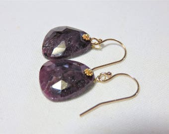 Natural Purple Red Rose Cut Sapphire, and 14K/22K Solid Yellow Gold Earrings