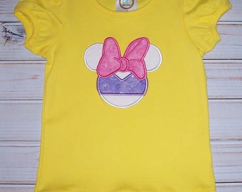Sample SALE Daisy Duck Minnie Yellow Short Sleeve T-shirt size 3T - ready to ship--Glitter Sparkle