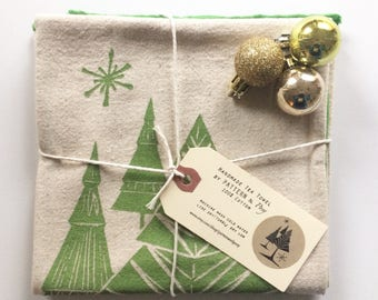 Holiday Mid Century Tree and Snowflake Handmade Block Printed Tea Towel-100% cotton towel, holiday decor