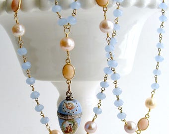 Austro-Hungarian Enamel Egg Vinaigrette Blue Chalcedony Pink Opal Pearls Necklace - Brezza Dolce IV Necklace