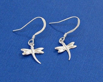 SALE Dragonfly Sterling Silver Earrings Dangle Ear Wires Bug Insect no. 3600