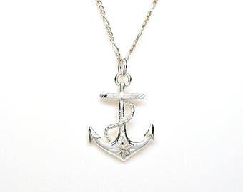 SALE Boat Anchor Sterling Silver Diamond Cut Nautical Sorority Charm Pendant Customize no. 2132