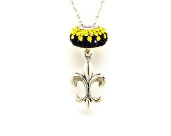 Necklace Fleur De Lis Sterling Silver Black Gold Team Colors Austrian Crystal Bead Jewelry Pendant Charm 1816