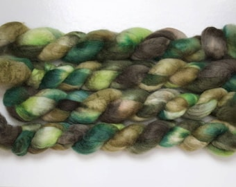 Handpainted Bluefaced Leicester Wool Roving in Enchanted Forest by Blarney Yarn