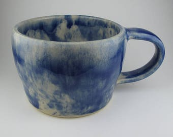 Handmade Pottery Ceramic Cobalt Blue Tie Dye Mug By Powers Art Studio