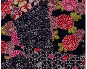 HALF YARD Traditional Cheater NAVY Blue Colorway - Cotton Dobby - Geometric Diamond Asanoha Sakura Cherry Blossom Japanese Design- Cosmo