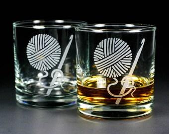 Crochet Hook and Yarn Lowball Glasses - Set of 2