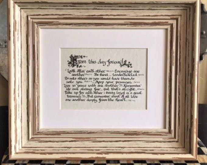 From this day forward-Scripture Quotes, Matted Color Print, Framed, Personalized, Custom Wedding & Anniversary Gift, Cindy Grubb-Calligraphy