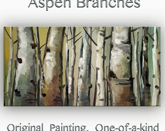 """Sale Art Painting Abstract Painting Original Looking Up modern tree art 48"""" MULTI colors landscape painting on gallery canvas by tim lam"""