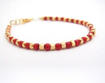 Red Gold Beaded Bracelet, Friendship Bracelet, Dainty Holiday Jewelry, Beaded bracelet, Christmas Seasonal, Stocking Stuffer