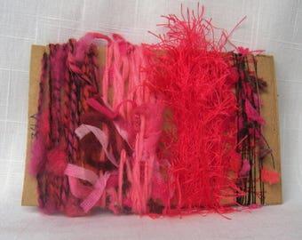 Pink Art Yarn Bundle Fiber Scraps Weave Knit Felt 1584