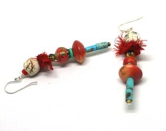 Mixed media earrings with sari silk, Gypsy stick earrings, Tribal stack earrings, Rustic bohemian earrings, Statement earrings, Art to wear