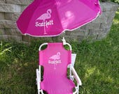 Toddler Kids Childrens Beach Chair and Umbrella Monogrammed Personalized PINK BLUE PURPLE Lime green