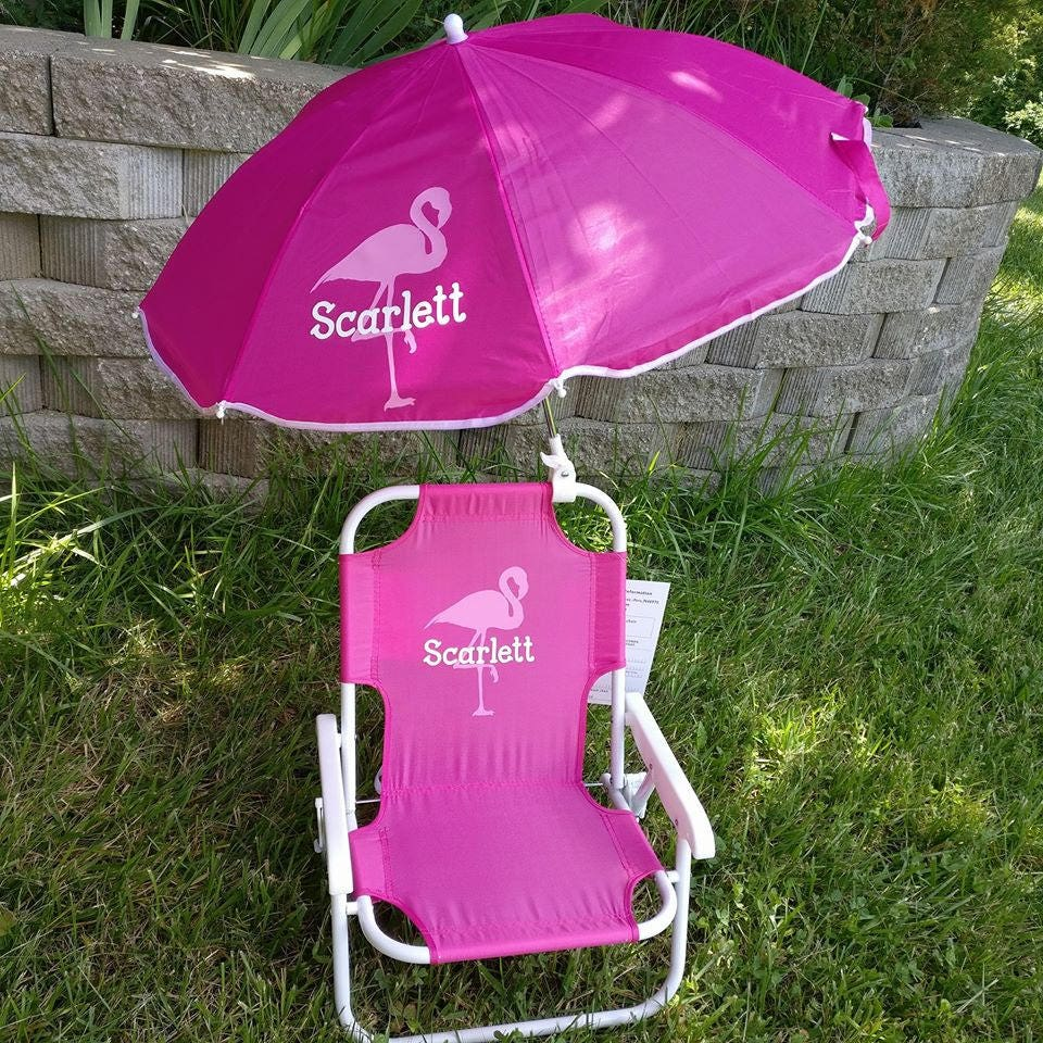 toddler kids childrens beach chair and umbrella monogrammed. Black Bedroom Furniture Sets. Home Design Ideas