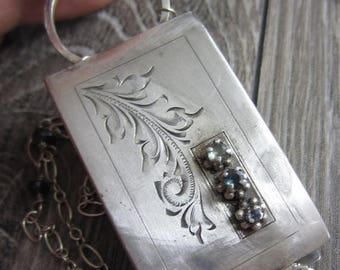 SUMMER SALE Old Scrollwork Necklace - Vintage Belt Buckle Reporpose into a Locket with Sapphires