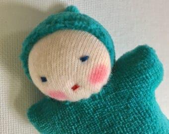 teal green, Waldorf dolls, small dolls, Waldorf pocket doll, Germandolls, Waldorf toy, gift for kids