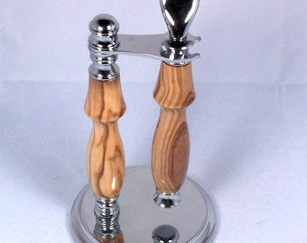 Handcrafted Chrome Shaving Set designed for Fusion/M3/DE Safety Razor with Stand