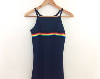 Rainbow Striped Spandex Mini Dress