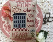 Cross Stitch Pattern Home Is Where You Hang Your Heart Annie Beez Folk Art PDF PAttern Sheep Heart Blue House Checkerboard