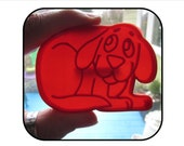 Vintage Clifford Big Red Dog, Plastic Puppy Dog Cookie Cutter by Scholastic, 1988, kitchen baking utensil
