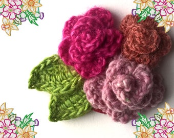 Adorable Crochet Brooch / Pin / Corsage. Trio of Roses and Leaves. Gentle Muted PInk Tones. Ooak Crochet Art.