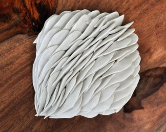SALE - Magnolia - Porcelain Micro Tile - Textured Ceramic Wall Sculpture Wall Art Flower
