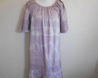 70s 80s Vintage cotton long dress   tie dye         boho bohemian gypsy hippie hippy dresses