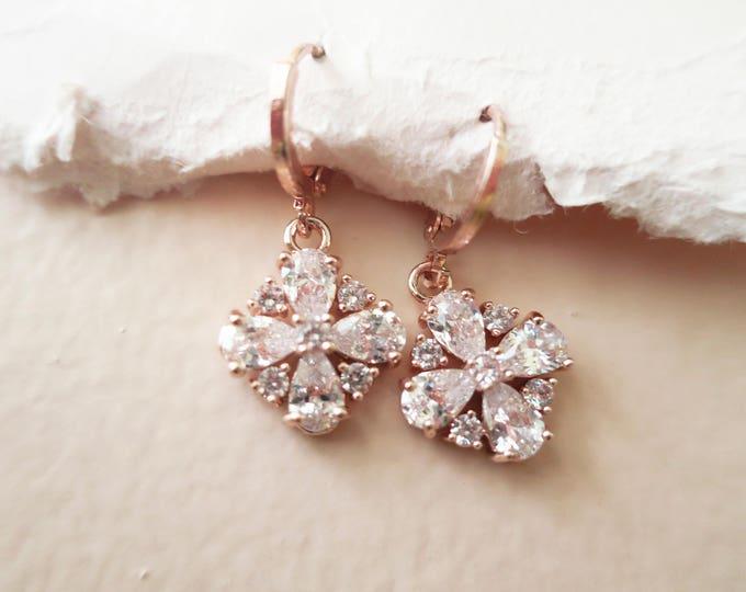 Rose Gold Crystal Earrings JENI