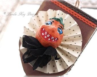 JOL Halloween Ornament  Vintage Inspired Hand Painted Pumpkin Halloween Tree Ornament Lorelie Kay Original