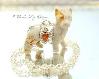 I Love My Dog Necklace Bisque Terrier Dog Soldered Vintage Assemblage Pendant