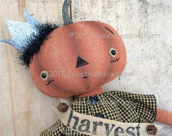 Harvest Queen Primitive Pumpkin Doll Epattern
