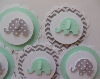 Elephant Cupcake Toppers - Mint Green,Gray and White - Chevron - Polka Dots - Gender Neutral Baby Showers - Birthday Parties - Set of 12
