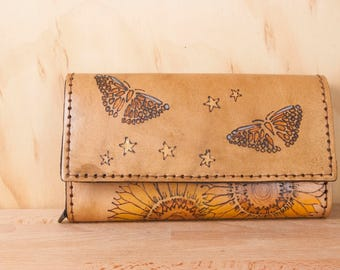 Oversize Wallet - Large Leather Checkbook Wallet with Shoulder Strap - Celestial Pattern with Sunflowers and Butterflies and Stars