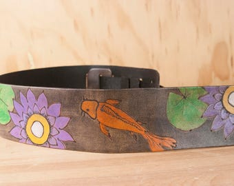 Leather Guitar Strap with Koi and Lotus - Handmade in Orange, Purple, Green and Antique Black - for Acoustic or Electric Guitars