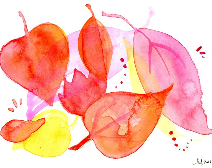 """Original watercolor painting of orange, pink and yellow leaves: """"Hello November"""""""