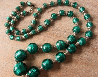 Vintage Antique Classic Venetian 1920s to 1930s Emerald Green Foil Handmade Glass Bead Graduated Necklace - Restrung - 22 Inches Long