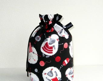 Drawstring Bag Knitting Project Padded Pouch  - Knitting Sheep
