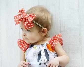 Baby Bow - Baby Halloween Bow - Girls Halloween Bow - Toddler Bow - Toddler Headband - Baby Headband - Girls Headband - Orange Bow - Purple