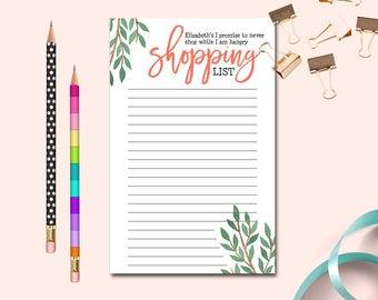 Your Name Hangry Shopping List, Personalized Grocery List, Custom To-do List, Shopping While Hangry