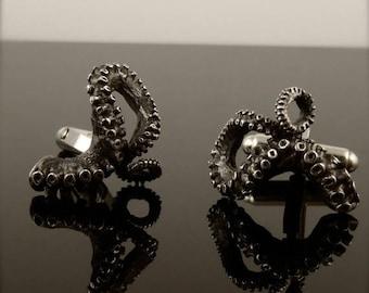 SALE SALE - Tentacle Cufflinks, Sterling Silver Men's Jewelry, OctopusME, Tentacle gifts for him, Octopus Wedding Jewelry, Groomsmen