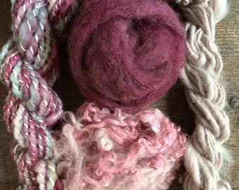 Fabulous Fiber Bundle - pretty pinks - handspun yarn, wool locks, roving - fiber fun pack for weavers, felters, artists