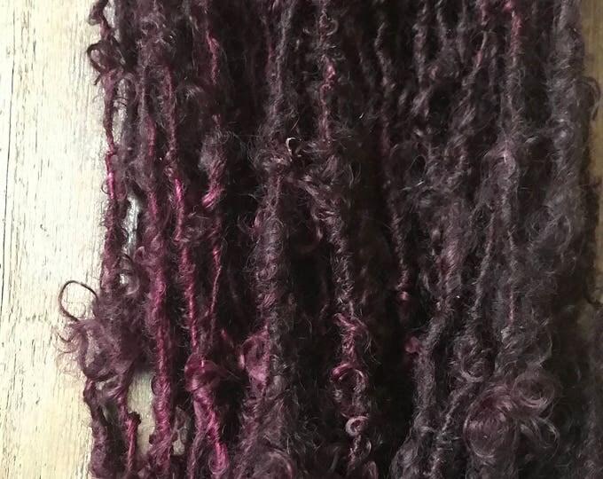 Reserved for Thomsonblue Cabernet, 16 yards handspun yarn, deep burgundy art yarn, lockspun yarn, curly handspun yarn,